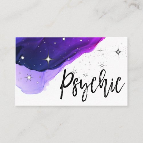 Stars Psychic Medium Watercolor Purple Business Card