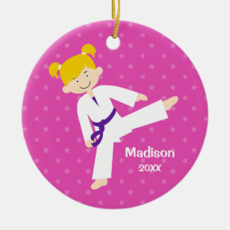 Stars Purple Taekwondo Blonde Girl Personalized Ceramic Ornament