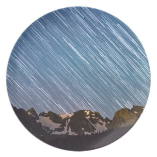 Stars Raining Down On The Colorado Indian Peaks Melamine Plate
