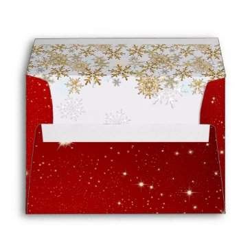 Christmas Themed Stars Red A7 Christmas Envelopes
