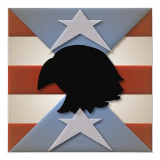 Stars Red Blue Flag Eagle Silhouette 5.25x5.25 Square Paper Invitation Card