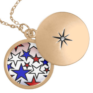 Stars (Red, White and Blue) Round Locket Necklace