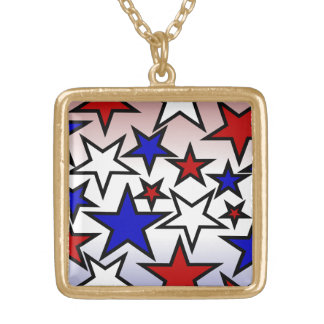 Stars (Red, White and Blue) Square Pendant Necklace