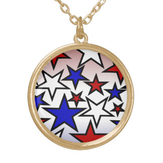 Stars (Red, White and Blue) Round Pendant Necklace