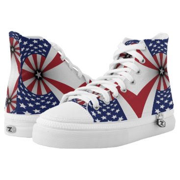 USA Themed Stars Red White Blue USA High-Top Sneakers