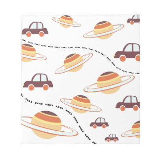 Stars, roads, and cars notepad