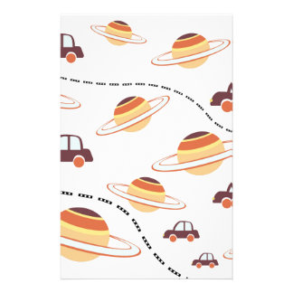Stars, roads, and cars stationery