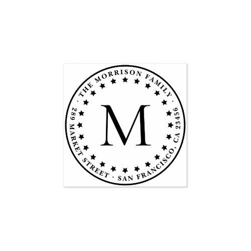 Stars  Round Monogram Family Name Return Address Rubber Stamp
