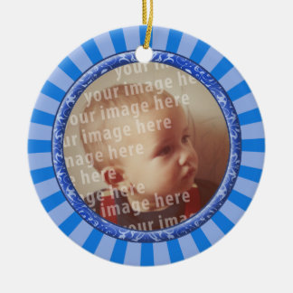 Stars Round Photo Frame Double-Sided Ceramic Round Christmas Ornament