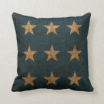 Stars Rustic Blue and Natural Throw Pillow