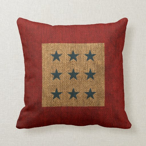 Blue Red Throw Pillow : Stars Rustic Blue and Red Throw Pillow Zazzle