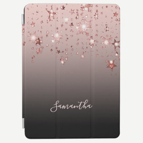 Stars shining rose gold ombre black brown name iPad air cover