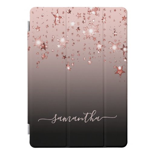 Stars shining rose gold pink black brown monogram iPad pro cover