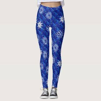 Stars Snowflakes on Blue Pattern Leggings