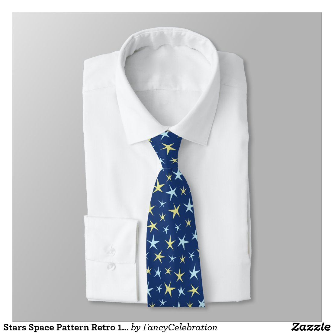 Stars Space Pattern Retro 1960s Geometric Blue Tie