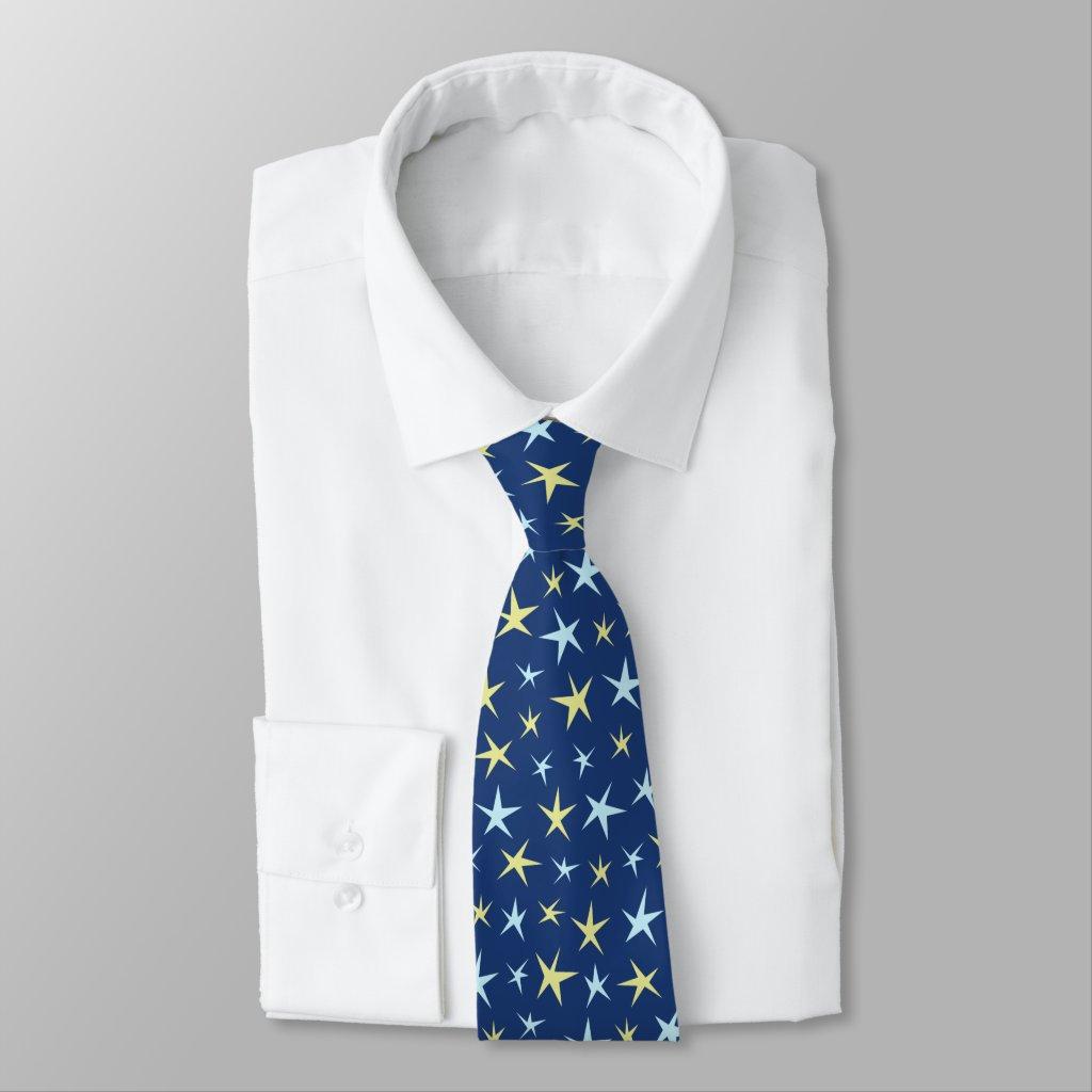 Stars Space Pattern Retro 1960s Geometric Blue Tie