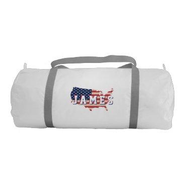 USA Themed Stars &  Spangled US American Flag. Add Name. Gym Bag