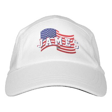 USA Themed Stars &  Spangled US American Flag. Add Name. Hat