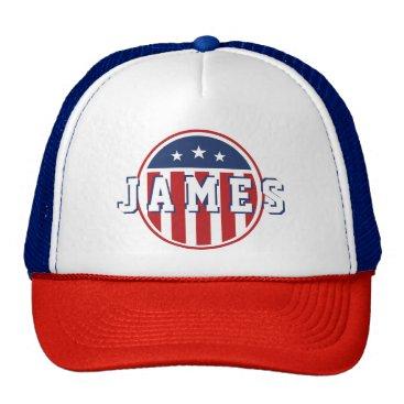 USA Themed Stars &  Spangled US American Flag. Add Name. Trucker Hat