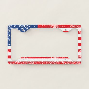 USA Themed Stars &  Spangled US American Flag. License Plate Frame
