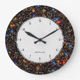 Stars & Sparkles Cool Deep Space Pattern Large Clock