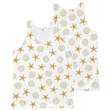 Beach Themed Stars & Spirals All-Over-Print Tank Top