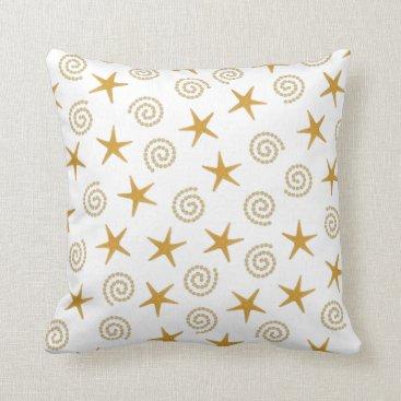 Beach Themed Stars & Spirals Throw Pillow