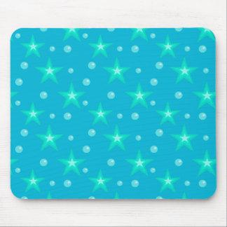 Stars Starry Bubbles Blue Mermaid Fantasy Nautical Mouse Pad