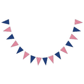 Stars Stripes 4th July Memorial Veterans Day Decor Bunting Flags