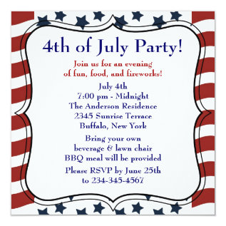 Stars Stripes 4th of July BBQ Party Card at Zazzle