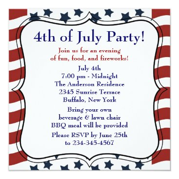 decembermorning Stars Stripes 4th of July BBQ Party Card
