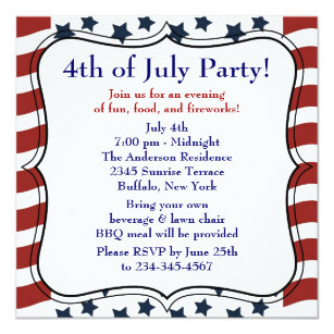4th of july party invitations zazzle
