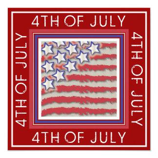 "Stars & Stripes 4th of July Party Invitation 5.25"" Square Invitation Card"