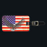 """Stars &amp; stripes America flag &amp; eagle luggage tag<br><div class=""""desc"""">US flag luggage tag,  perfect for those who are American or of United states descent or travelling to America. Features a unique line art drawing of an bald eagle. Customize the reverse of this tag with your name and address details. Designed and drawing exclusively by Sarah Trett.</div>"""