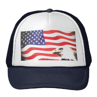 Stars, stripes and eagle trucker hat