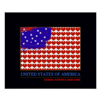 stars stripes and love poster
