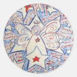 Stars & Stripes Angel Classic Round Sticker