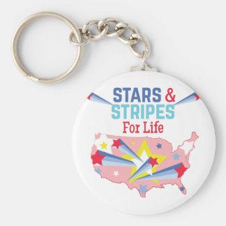 Stars & Stripes Basic Round Button Keychain