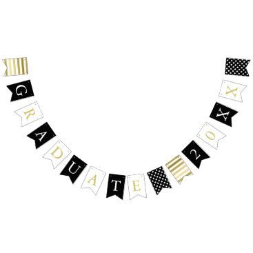 Paperpaperpaper Stars & Stripes | Black White Gold | Graduate Bunting Flags