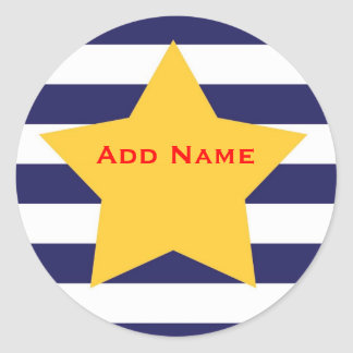 Stars & Stripes Boys Customizable Name Sticker