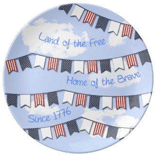 Stars & Stripes Bunting Banner Serving Plate