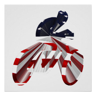 Stars & Stripes Cyclist on The Move Print