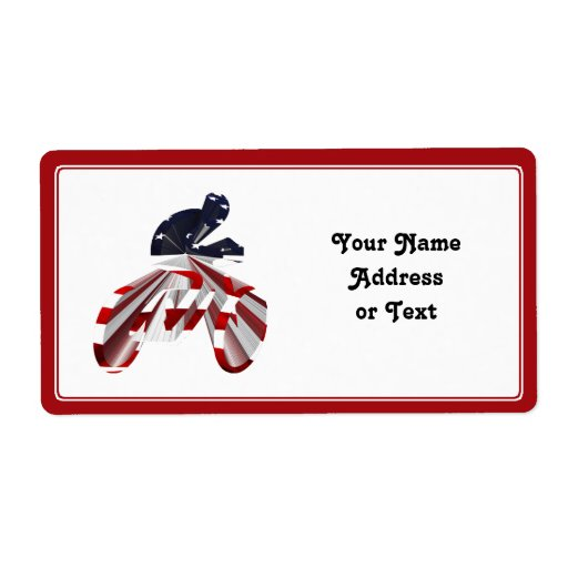 Stars & Stripes Cyclist on The Move Shipping Label