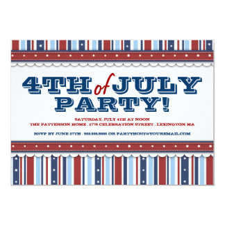Stars & Stripes Festive 4th of July Party 5x7 Paper Invitation Card