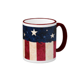 Stars & Stripes Folk Art Style USA Flag Patriotic Mug