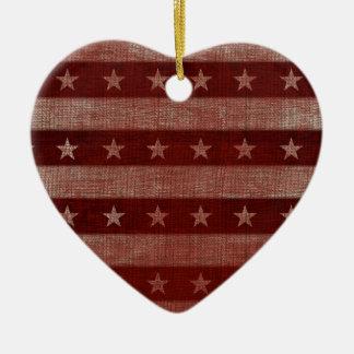 Stars & Stripes Heart Ceramic Christmas Ornament