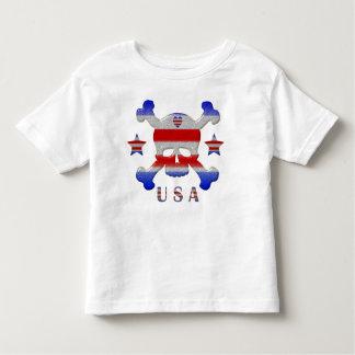 Stars, Stripes & Heart Skull USA Patriotic Toddler T-shirt