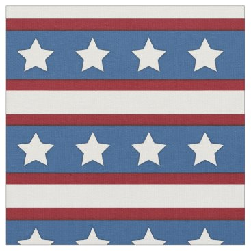 USA Themed Stars & Stripes horizontal red white blue Fabric
