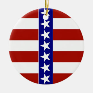 Stars & Stripes of Red White And Blue Ceramic Ornament