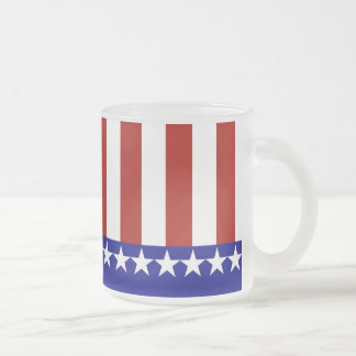 Stars & Stripes of Red White And Blue 10 Oz Frosted Glass Coffee Mug